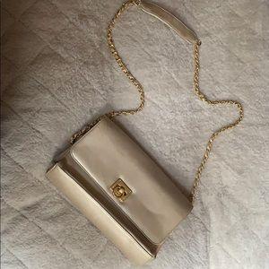 Lord & Taylor gold leather handbag